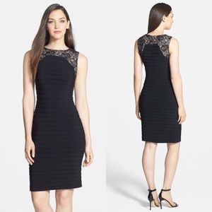 Adrianna Papell Lace Yoke Shutter Pleat Dress